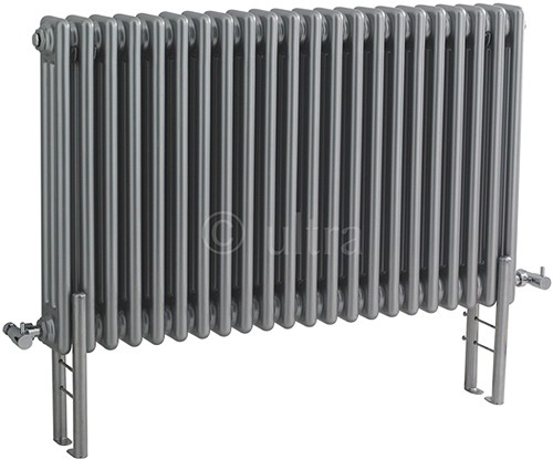 Additional image for Triple Column Radiator With Legs (Silver). 1011x600mm.