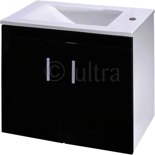 Additional image for Wall Hung Vanity Unit, Reversible Basin (Black). 550x450x330mm.