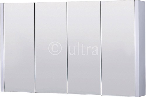 Additional image for Mirror Bathroom Cabinet, 4 Doors (White). 1200x650x100mm.