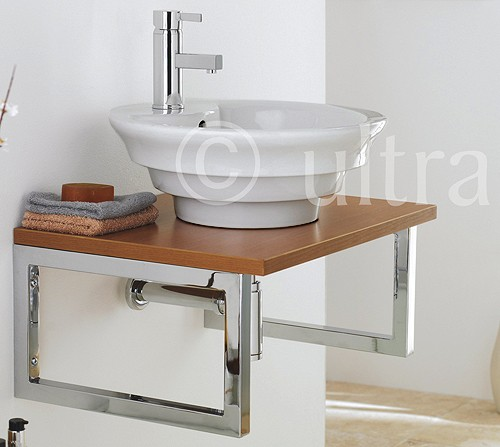 Additional image for Vanity Shelf With Round Basin 600mm (Calvados Brown).