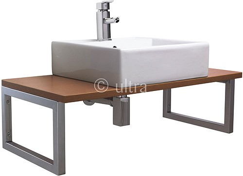 Additional image for Vanity Shelf With Square Basin 900mm (Calvados Brown).