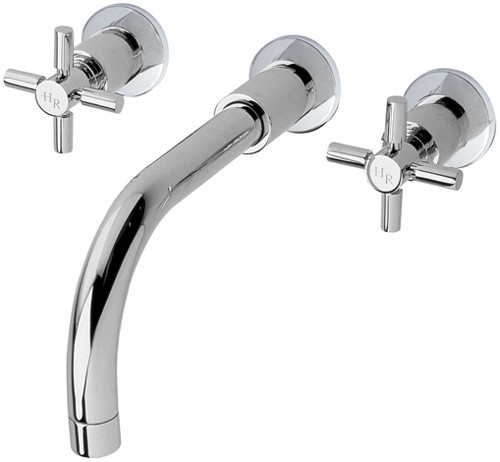 Additional image for 3 Faucet Hole Wall Mounted Bath Faucet With Cross Handles.