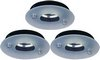 Lights 3 x Low voltage black & glass downlight with lamps & transformers.